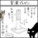 バリバリつめとぎポールを使う猫の4コマ猫漫画