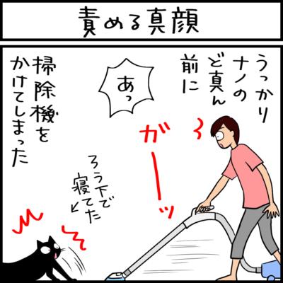 真顔で責める黒猫の4コマ猫漫画