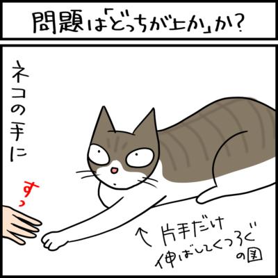 猫の手に手を置く4コマ猫まんが
