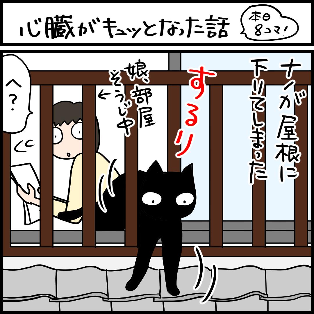 黒猫が屋根に下りた4コマ猫まんが