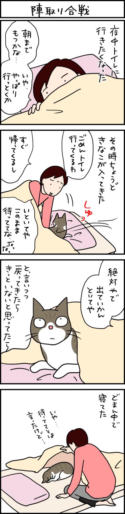 布団に入る猫の4コマ猫まんが