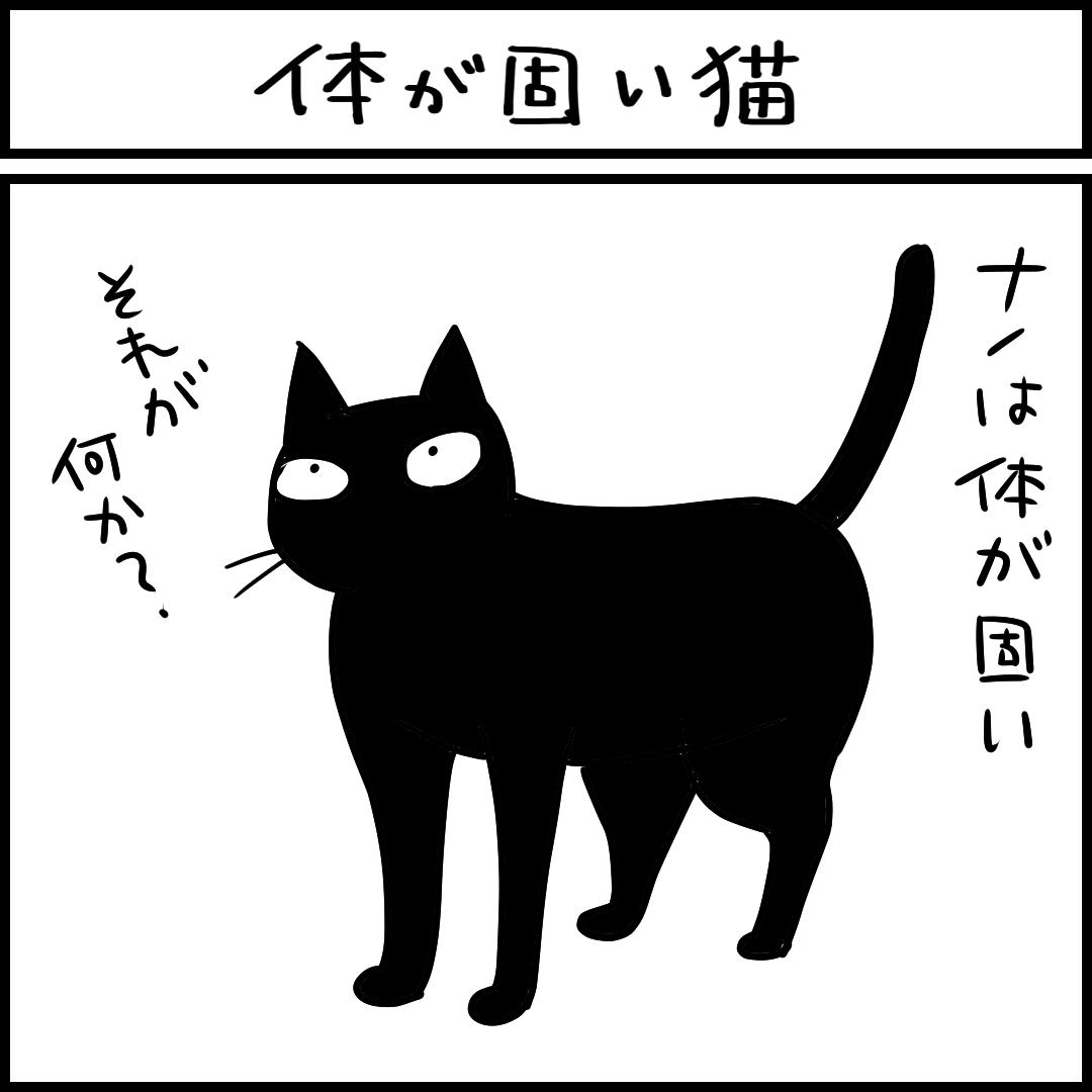 身体が固い猫の4コマ猫まんが